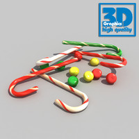 candy decor cane 3d obj