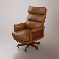 3d model leather desk chair