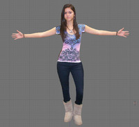 female girl woman 3d fbx