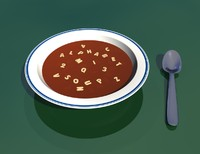 3d bowl alphabet soup model
