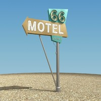 route 66 motel sign 3d model