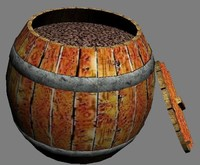 wooden barrel coffee beans 3d max