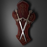 3d model decorative medieval shield swords
