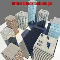 3d 3ds realistic office block buildings