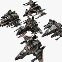 5 light drones 3d max