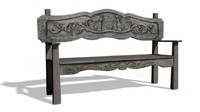 free aged bench 3d model
