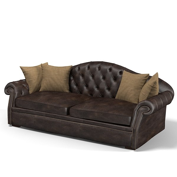 3d model brunozampa extended sofa for Traditional tufted leather sofa