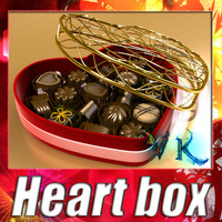 Heart box + 8 chocolates. High detailed.