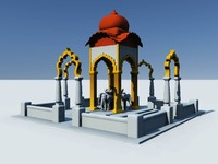 3d temple hindu shiva model