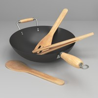Wok and utensils