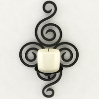 3d model wallmounted iron candle holder