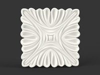 3d model flower squared carved
