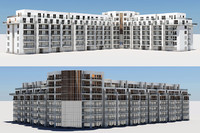 3d residential complex buildings model