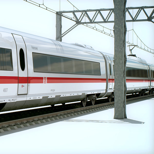 max speed train - ice - High Speed Train - ICE 3 Siemens Velaro with Interior... by cgshape