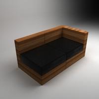 3d modular bamboo sofa
