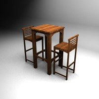 wood bar table chairs 3d max