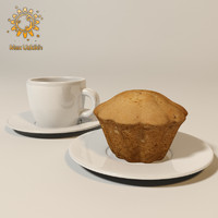Photorealistic cupcake and coffee cup and High resolution texture