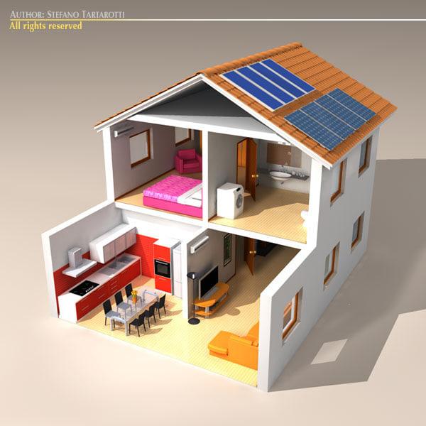 3d model stilized house cutaway House 3d model