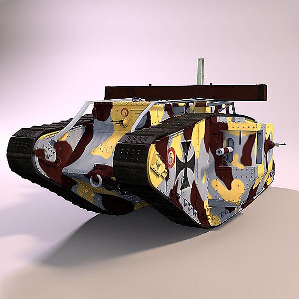 3d model of british mark v tank