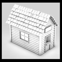 3d little building shed
