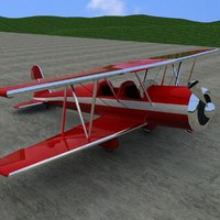 3d biplane realistic old