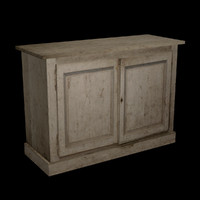 Old White Painted Cabinet, Low Poly