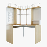 mikael office corner table furniture 3d model