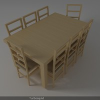 dining chair table 3d model