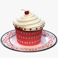 valentine cupcake 3d model