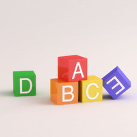 3d childrens letter blocks model