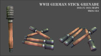 3ds max world war stick grenade