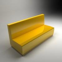 3d yellow sofa model