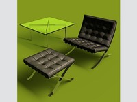3d barcelona chair set