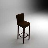 3d model leather bar chair
