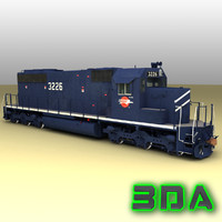 emd sd40-2 engines mp 3d model