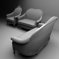 3d model set victorian sofas