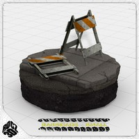 barricade construction 3d 3ds