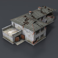 Wrecked House with Interior Low Poly