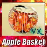 3d model fruit basket red apple