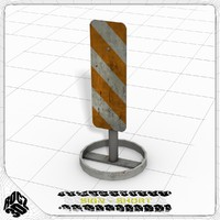 Construction Reflector Sign-Rocz3D