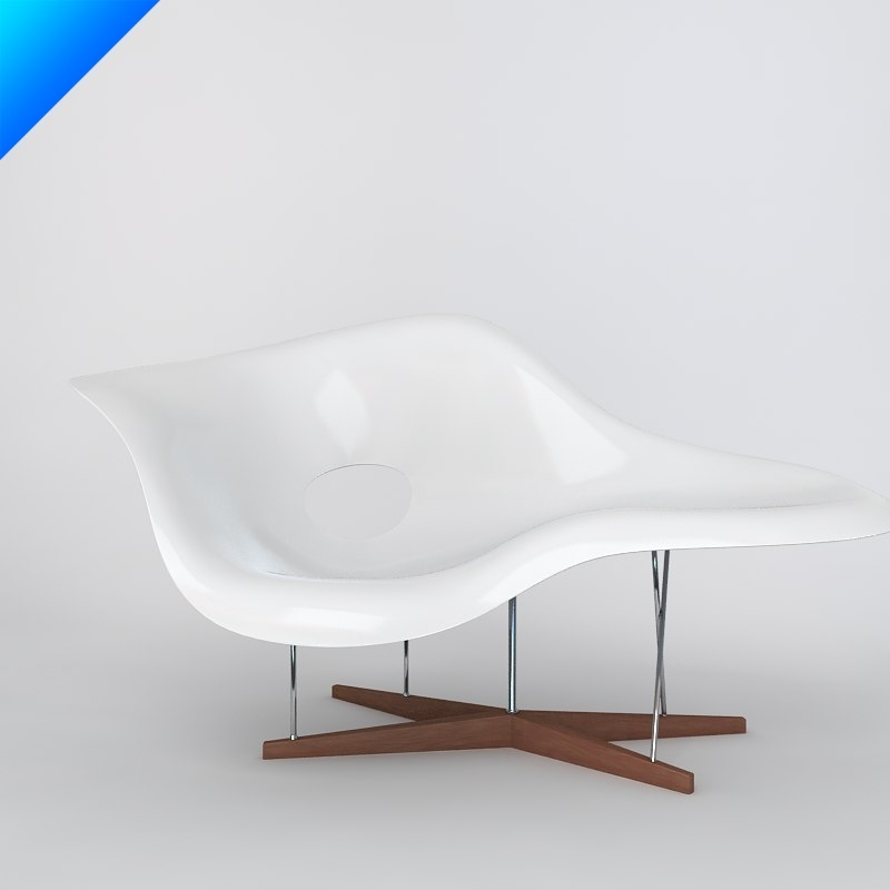 3dsmax charles eames la chaise for Chaise eames original