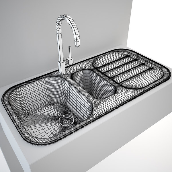 sink tap kitchen 3ds - Kitchen Sink Blanco Claris 6 S + tap Gessi Quadro... by bogle3d