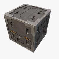 3d sci-fi metal crate model
