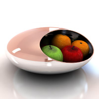 3d chrome fruit bowl model
