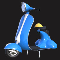 3d cartoony vintage scooter