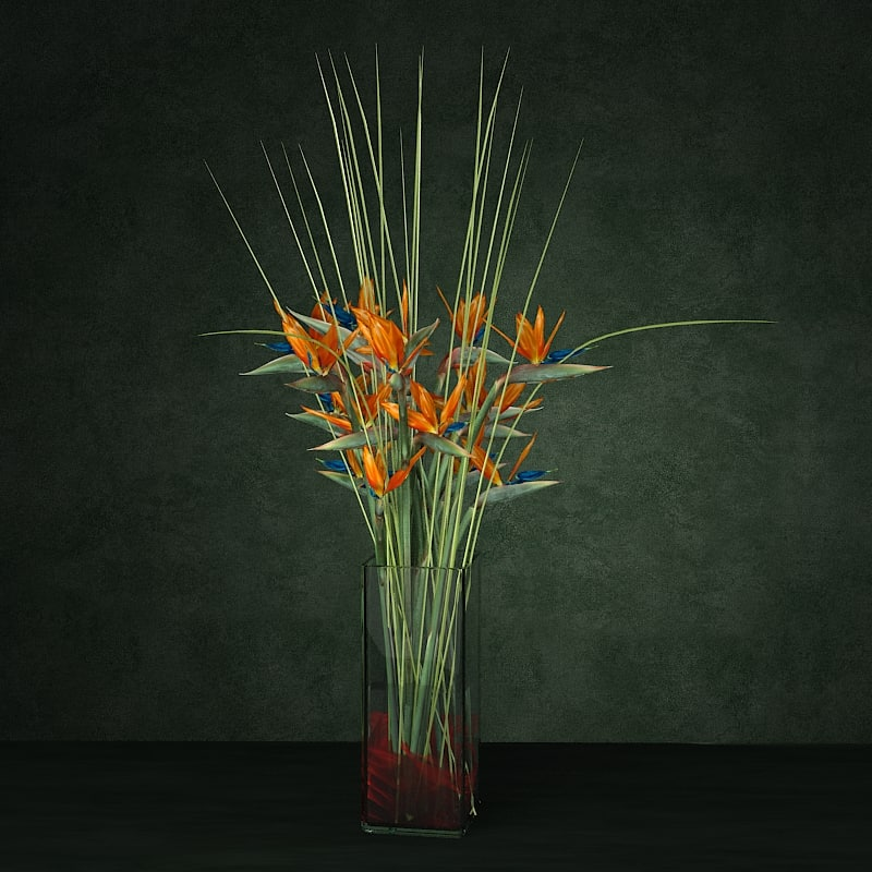 Exotic flower bouquet enterance hotel flower comosition vase glass bird of paradise.jpg