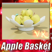 Golden Apple + Fruit Basket 05. High Resolution Textures