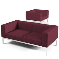 Minotti Helion sectional sofa club chair modern contemporary steel legs