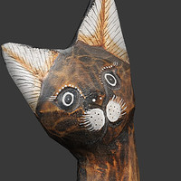 3ds max wooden cat statue