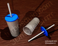 plastic cup straw lid 3ds